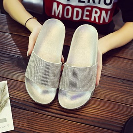 Rhinestone Slip-On Women's Flat Sandals