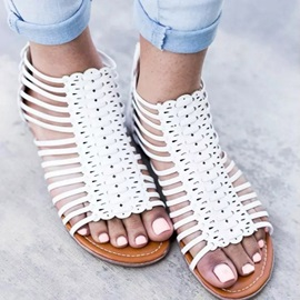 PU Hollow Heel Covering Women's Flat Sandals