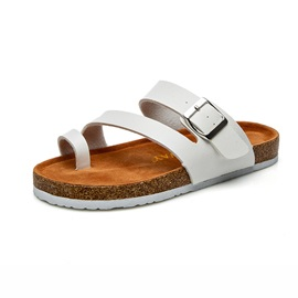 PU Color Block Buckle Slip-On Women's Flat Sandals