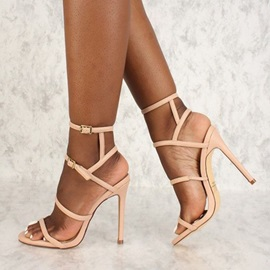 Buckle Stiletto Heel Open Toe Plain Sandals