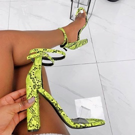 Chunky Heel Open Toe Buckle Neon Women's Sandals