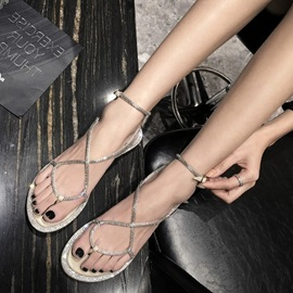 Open Toe Strappy Lace-Up Women's Flat Sandals