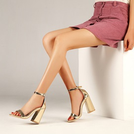 Heel Covering Open Toe Chunky Heel Buckle Sandals