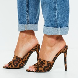 Stiletto Heel Slip-On Leopard Print Sandals