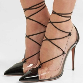 Pointed Toe Lace-Up Sexy Women's Pumps