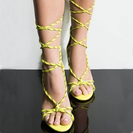 Neon Lace-Up Heel Covering Open Toe Women's Sandals