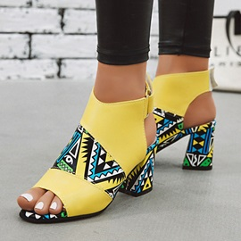 Chunky Heel Velcro Peep Toe High Top Vintage Sandals