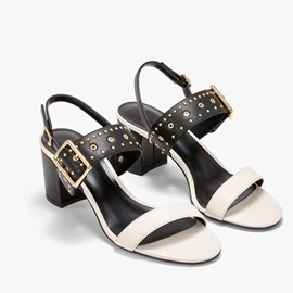 Chunky Heel Open Toe Buckle Low-Cut Upper Sandals