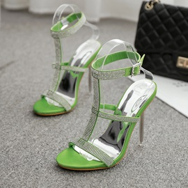 Open Toe Stiletto Heel Buckle Plain Sandals