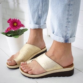 Platform Wedge Heel Toe Ring Casual Slippers