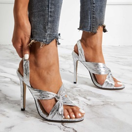 Open Toe Stiletto Heel Slip-On Prom Sandals