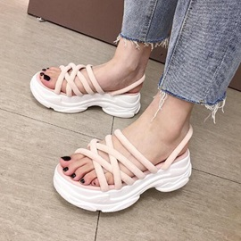 Slip-On Slingback Strap Open Toe Chic Chunky Sandals