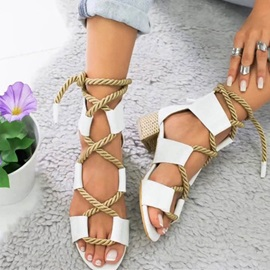 Lace-Up Chunky Heel Open Toe Women's Sandals