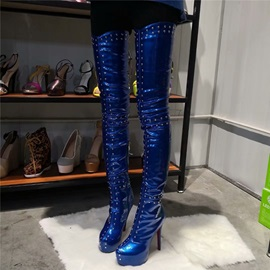 Side Zipper Round Toe Rivet Thigh High Boots