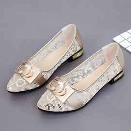 Slip-On Block Heel Rhinestone Women's Flats