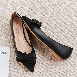 Slip-On Pointed Toe Block Heel Sweet Women's Flats
