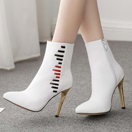 Side Zipper Pointed Toe Stiletto Heel Chic Zipper Ankle Boots