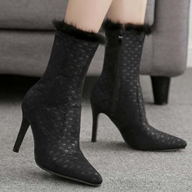 Stiletto Heel Side Zipper Pointed Toe Elegant Mid Calf Boots