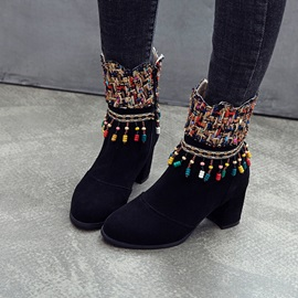 Fringe Side Zipper Chunky Heel Color Block Ankle Boots