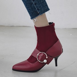 Back Zip Stiletto Heel Pointed Toe Vintage Ankle Boots