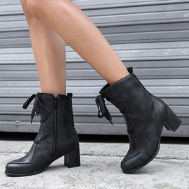 Chunky Heel Plain Round Toe Vintage Ankle Boots