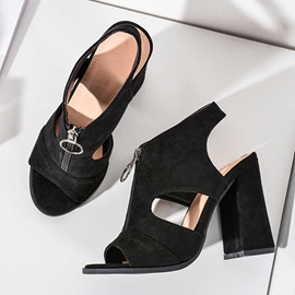 Zipper Chunky Heel Peep Toe Western Sandals