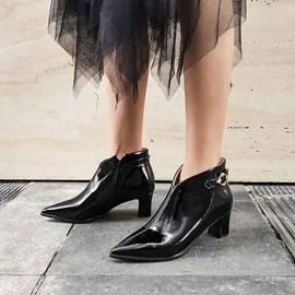 Low Heel Plain Side Zipper Comfy Ankle Boots