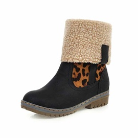 Round Toe Slip-On Leopard Casual Snow Boots
