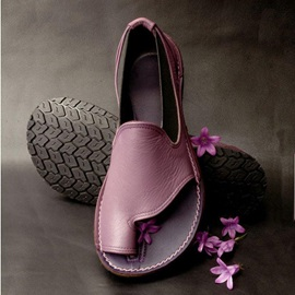 Flat Heel Slip-On Toe Ring Vintage Sandals