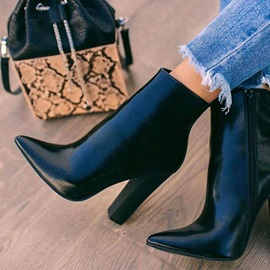 Pointed Toe Plain Side Zipper Casual Ankle Boots
