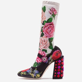 Customized Chunky Heel Floral Round Toe Boots