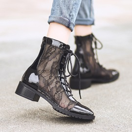 Square Toe Chunky Heel Back Zip Lace Ankle Boots