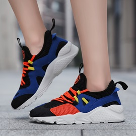 Lace-Up Color Block Round Toe Korean Women's Sneakers
