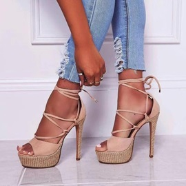 Lace-Up Peep Toe Stiletto Heel Cross Strap Women's Sandals