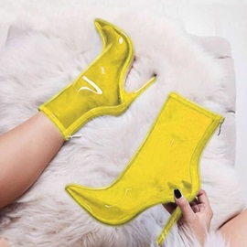 Neon Pointed Toe Plain Back Zip Ankle Boots