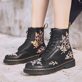 Lace-Up Front Round Toe Color Block Martin Boots