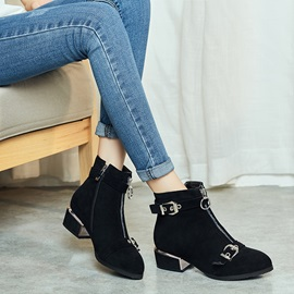 Round Toe Plain Front Zipper Casual Ankle Boots