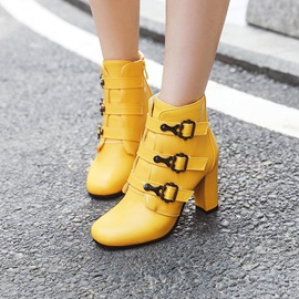 Chunky Heel Square Toe Plain Short Floss Ankle Boots