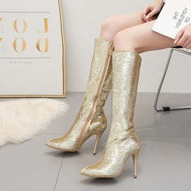Pointed Toe Side Zipper Patchwork Keen High Boots