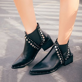 Block Heel Plain Slip-On Western Ankle Boots