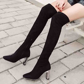 Back Zip Chunky Heel Plain Zipper Otk Boots