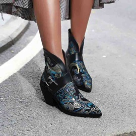 Embroidery Print Chunky Heel Back Zip Pointed Toe Boots
