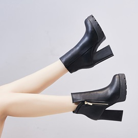 Chunky Heel Side Zipper Round Toe Short Floss Ankle Boots