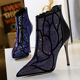 Back Zip Stiletto Heel Patchwork Rhinestone Ankle Boots