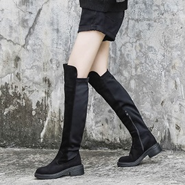 Side Zipper Round Toe Chunky Heel Knee High Boots
