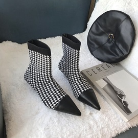 Patchwork Slip-On Pointed Toe Casual Ankle Boots