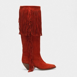 Customized Pointed Toe Slip-On Tassel Mid Calf Boots