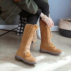 Round Toe Lace-Up Front Plain Keen High Snow Boots