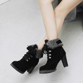 Chunky Heel Round Toe Color Block Purfle Boots