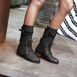 Side Zipper Plain Round Toe Buckle Mid Calf Boots